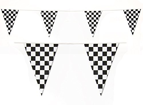 Black and White Checkered Race Flags Banner by Gabby Fun Corp