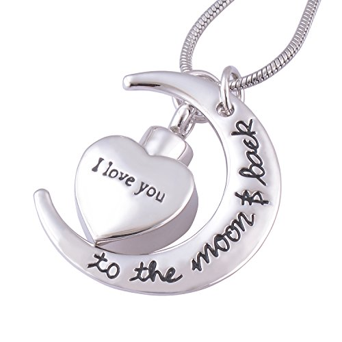 I Love You to the Moon and Back Urn Necklace for Ashes Memorial Keepsake Cremation Pendant Jewelry (Jewelry For Cremation Ashes)