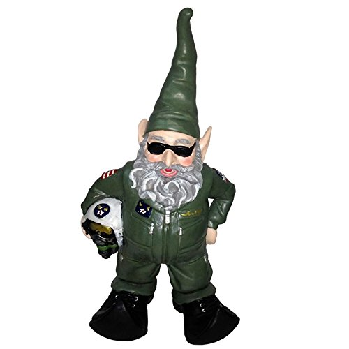 "Nowaday Gnomes Top Gun Air Force Gnome Pilot Military Soldier in Green Flight Suit Home & Garden Gnome Statue 15"" H"