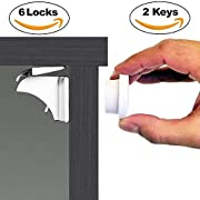 Baby & Child Proof Cabinet & Drawers Magnetic Safety Locks - Heavy Duty Locking System (6 Pack)