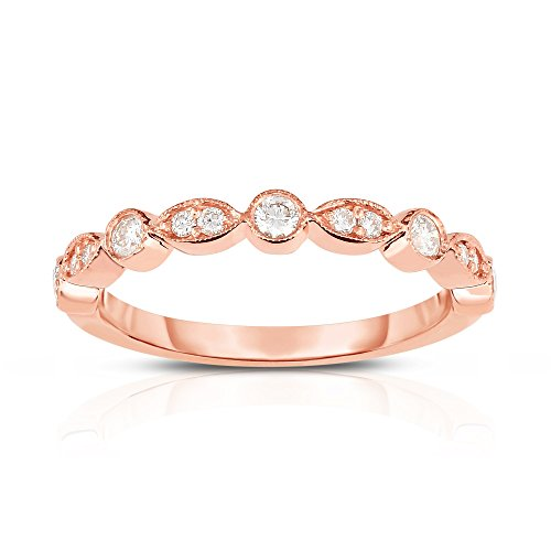 Noray Designs 14K Rose Gold Diamond (1/4 Ct, G-H Color, SI2-I1 Clarity) Stackable Milligrain Ring