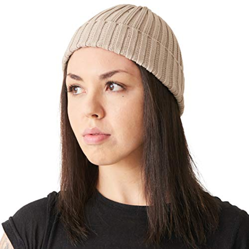 Mens Fisherman's Beanie Hat - 100% Cotton Ribbed Slouch Cap Women Chemo Knit Winter Summer Simple Classic Design Beige
