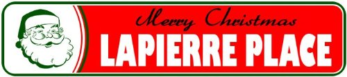 LAPIERRE PLACE Personalized LASTNAME Merry Christmas Santa N