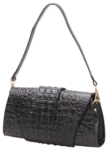 Iblue Leather black Wallet L Embossed Clutch Purse Party W062 Womens Crossbody Bag UE7xrUwq