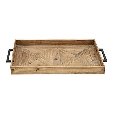 Benzara 44384 Antique Colonial Simple Wood Metal Tray