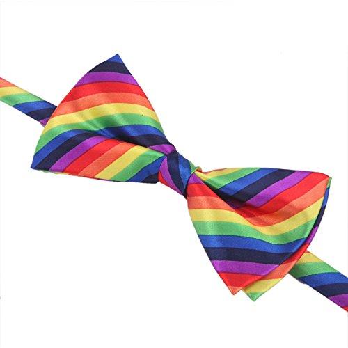 Rainbow Bow Tie for Clown Costume Rainbow Pride Bowtie Striped Men Women