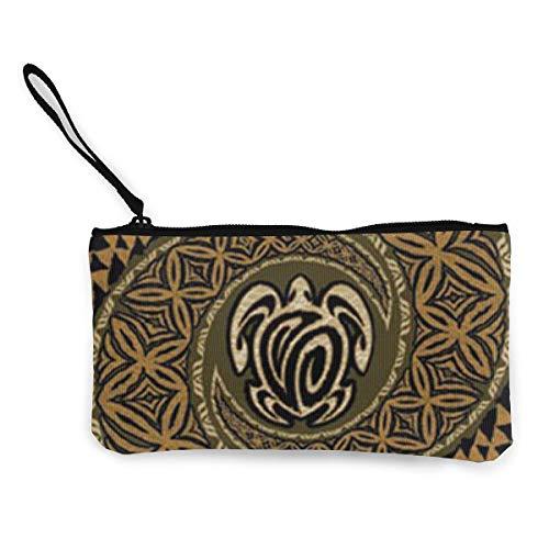 Coin Purse Hawaiian Tapa Honu Turtle Pattern Cute Travel Makeup Pencil Pen Case With Handle Cash Canvas Zipper Pouch 4.7
