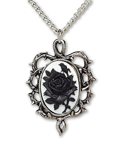 Cameo Black Necklace (Real Metal Gothic Black Rose Cameo In Thorns Pendant Necklace)