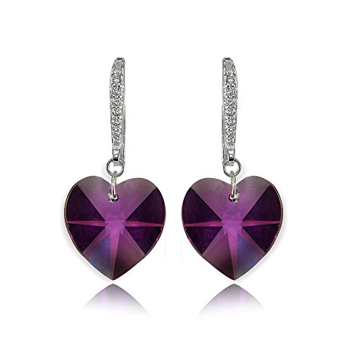 (Sterling Silver Purple Heart Dangle Earrings Created with Swarovski Crystals)