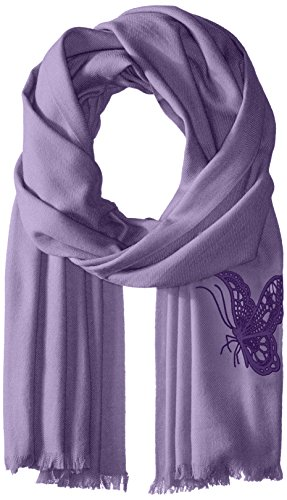 BADGLEY MISCHKA Women's Butterfly Embroidered Solid Wrap