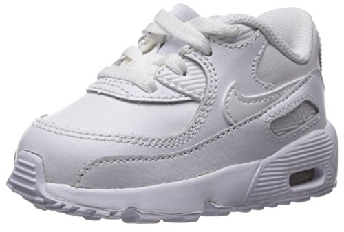 NIKE Boy's Air Max 90 Leather (TD) Shoes, White/White 6C -