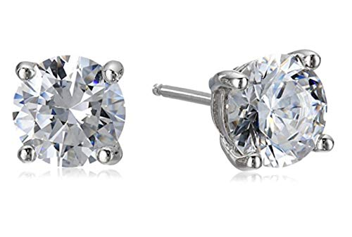 5 pairs Sterling Silver 0.25 Carat Simulated Diamond Earring Studs 4mm Earrings w/Earnuts Anniversary Birthday Mother's Women Girls Gift SSE76 ()