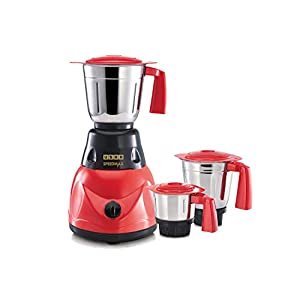 USHA SpeedMax 500-Watt Copper Motor Mixer Grinder with 3 Jars (Red/Black)