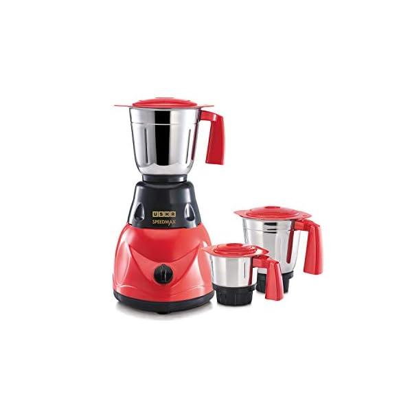 USHA SpeedMax 500-Watt Copper Motor Mixer Grinder with 3 Jars (Red/Black)