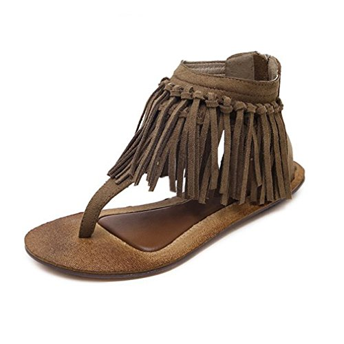 GIY Women's Fringe Flip Flops Sandals Flat Comfort Zipper Tassel Summer Beach Thong Sandals Black Brown by GIY