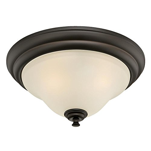 Westinghouse Lighting 6306200 Dunmore Two-Light Indoor Flush Mount, Oil Rubbed Bronze Finish with Frosted Glass,