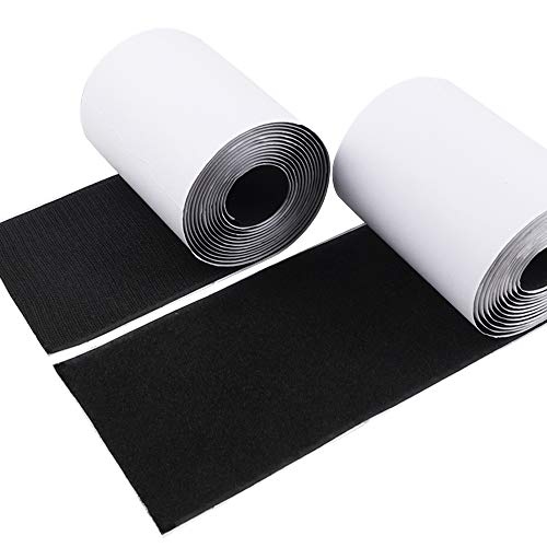 4 Inch Hook and Loop Tape Self-Adhesive Strips Set with Sticky Glue Nylon Fabric, Fastener Black, 3 Yards (9 feet), COCOBOO