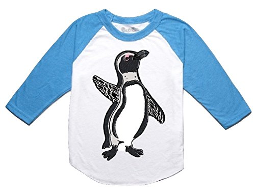 Peek-A-Zoo Toddler 3/4 Sleeve Raglan - Penguin Turquoise - 4T