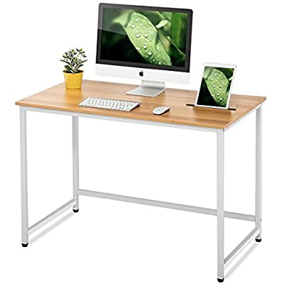 FITUEYES Writing Desk with Slot White and Natural Wood and Metal Study Computer Desk for Home and Office - 【MODERN AND SMART】It's a product of stylish and modern design made from wood and metal. Durable ,load better and safety for use. The surface is easy care、robust and clean . 【PRACTICAL SLOT】The long slot can put pens,pencils,mobiles & ipads. And the arranged holes in the slot can charge mobile and ipad in any place freely. 【MULTI-PURPOSE 】Can be a computer desk, writing desk, or dining table. Suitable for study, bedroom, living room, kitchen, children's room, office and so on. - writing-desks, living-room-furniture, living-room - 41khUB9taKL. SS400  -