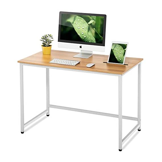 FITUEYES Writing Desk with Slot White and Natural Wood and Metal Study Computer Desk for Home and Office - 【MODERN AND SMART】It's a product of stylish and modern design made from wood and metal. Durable ,load better and safety for use. The surface is easy care、robust and clean . 【PRACTICAL SLOT】The long slot can put pens,pencils,mobiles & ipads. And the arranged holes in the slot can charge mobile and ipad in any place freely. 【MULTI-PURPOSE 】Can be a computer desk, writing desk, or dining table. Suitable for study, bedroom, living room, kitchen, children's room, office and so on. - writing-desks, living-room-furniture, living-room - 41khUB9taKL. SS570  -