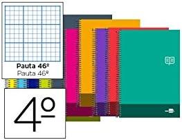 BLOC ESPIRAL LIDERPAPEL CUARTO DISCOVER TAPA CARTONCILLO 80 H 80G RAYADO N/º 46 COLORES SURTIDOS