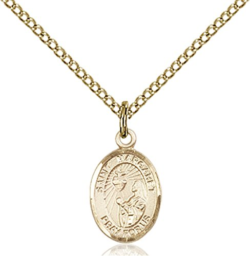 Patron Saints by Bliss 14K Gold Filled Saint Margaret Mary Alacoque Petite Charm Medal, 1/2 Inch
