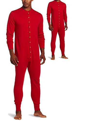 Duofold KMMU Men's Mid Weight Double Layer Thermal Union Suit L Red 2 Pack
