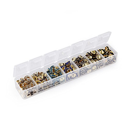 BRCbeads 8mm Gold Plated 7 Cold Theme Colors Crystal Rondelle Spacer Beads Include Plastic Jewelry Container Box Wholesale Mix Lot for jewelry making (280pcs Mix Lot)