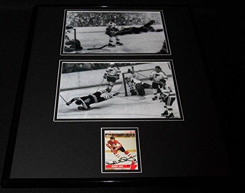 Bobby Orr Signed Framed 16x20 Photo Display JSA Flying Goal Bruins