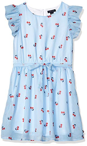 (Tommy Hilfiger Big Girls' Short Sleeve Fashion Dress, Cherry Azure Blue L12/14)