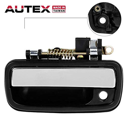 AUTEX Chrome Exterior Front Left (Driver Side-FL) Door Handle Compatible with Toyota Tacoma 1995-2004 Replacement for Toyota Hilux 04-12 768MX TO1310123 (2003 Tacoma Door Handle Drivers)