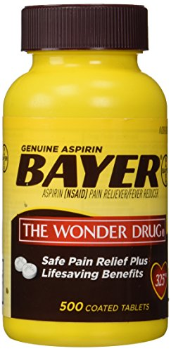 Genuine Bayer Aspirin (NSAID) Pain Reliever and Fever Reducer 325mg Per Tablet 500 Tablets per Bottle ()