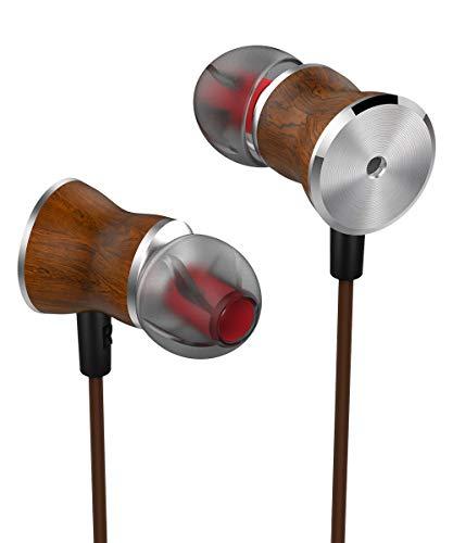 Earbuds OCOOER High Fidelity Driver in-Ear Earphones Wood Headphones, Spacious Reproduction High Resolution Mic in-Line Remote for iPhone, iPod, iPad, Samsung, HTC,Nokia (Headphones Bravo Earphones)