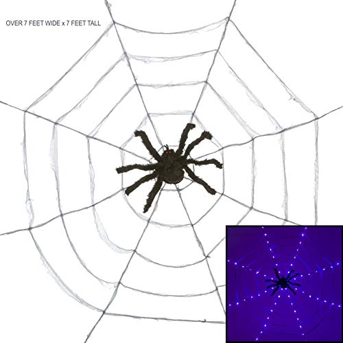 PINE AND PAINT LLC Lighted Spider Web Halloween Party Decoration Extra Large with Fuzzy Spider Purple Lights]()