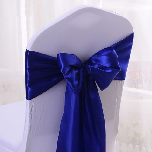 Set Of 10 Chair Decorative Satin Sashes Bow Designed For Wedding Events Banquet Home Kitchen Decoration (Royal Blue) by Sarvam Fashion