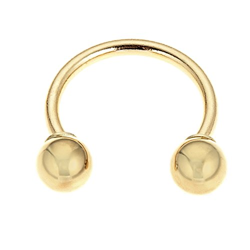 14k Solid Yellow Gold Eyebrow Circular Barbell HorseShoe Body Jewelry 16 Gauge ()