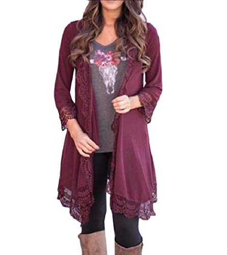 Coat Women Knit XINHEO Long Red Patchwork Hem Autumn Wine Lace Jacket Cardigan 7wBwnpqF