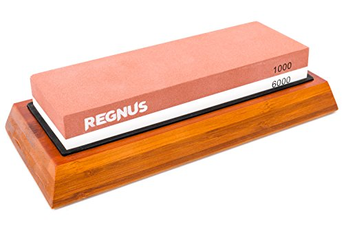 Knife Sharpener - 1000/6000 Double Sided Combination Sharpening Stone with Non-slip Bamboo Base - Also for any Blades, Razors and Scissors by Regnus
