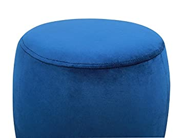 Tov Furniture TOV-OC3815 The Willow Collection Modern Velvet Upholstered Round Ottoman, Navy