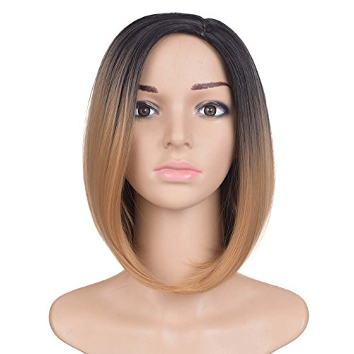 High Temperature Synthetic Fiber Short Bob Wigs Centre Side Straight Style Heat Resistant Fiber Wig 160g/pcs Omber Color Synthetic Hair Wig (12inch, Black&Light Brown)