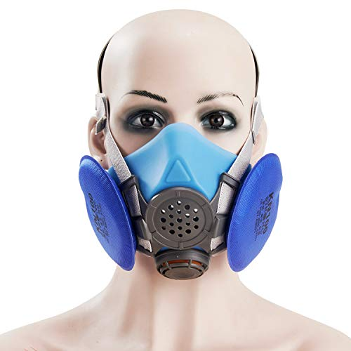 Holulo Half Face Respirator with Blue Filter Anti-Dust Paint Reusable Respirator Mask for Industrial