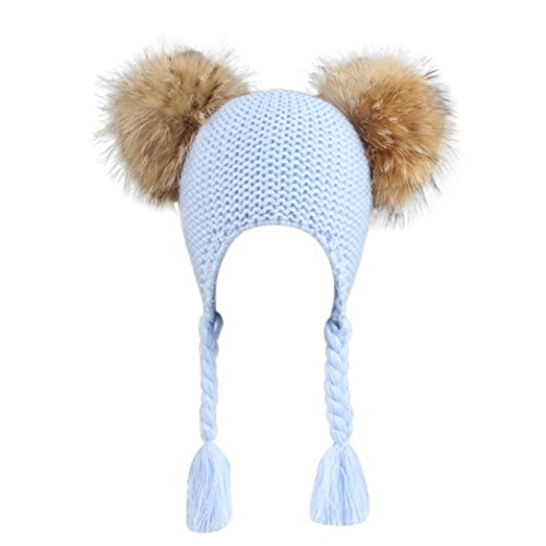Elevin(TM)Children Gilrs Boys Winter Warm Knit Wool Beanie Ski Hats Cap with Earflap Pom (Blue)