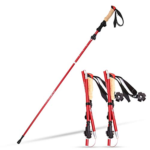 Zeroall Trekking Poles Collapsible Walking Hiking Poles with Storage Bag & EVA Handle Adjustable Ultralight Aluminum…