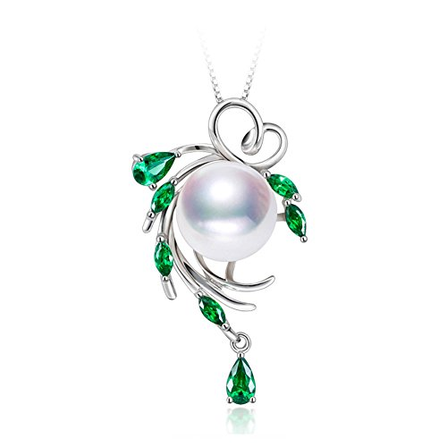 LSOOYH Leaf Green Crystal S925 Sterling Silver Freshwater Pearl Necklace Gifts for Women Birthday Gift (White) ()