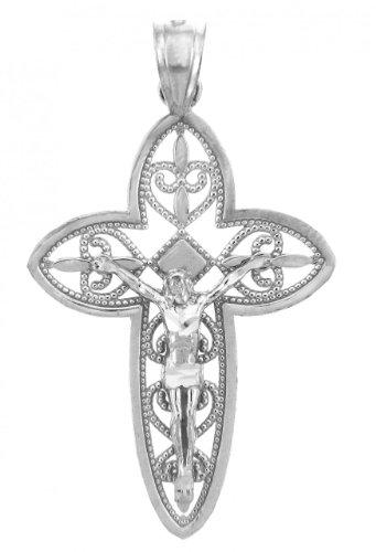 Petits Merveilles D'amour - 10 ct Or Blanc 471/1000 Crucifix - Le crucifix pendentif Sacrée Trinity