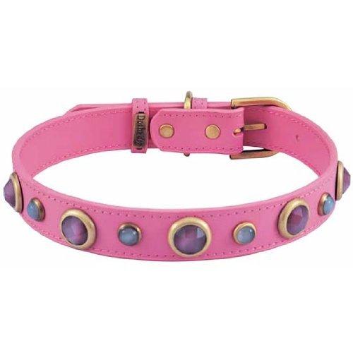 Cat Eye & Quartz Imperial Pink Leather Dog Collar - Large