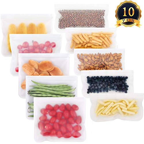 SUBANG 10 Pieces Leakproof Reusable Freezer Bags BPA FREE Reusable Lunch Bags for Food Storage Home Organization (5 Pieces Reusable Sandwich Bags, 5 Pieces Reusable Snack Bag)