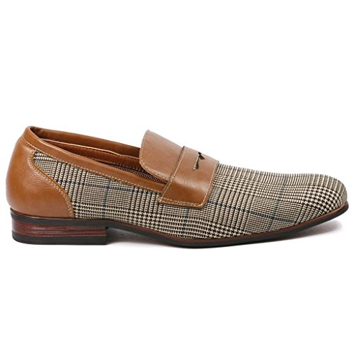 Slip Fashion Ferro Plaid Shoes Dress Men Aldo Lining Loafers Brown Brown On Leather HqwUtx