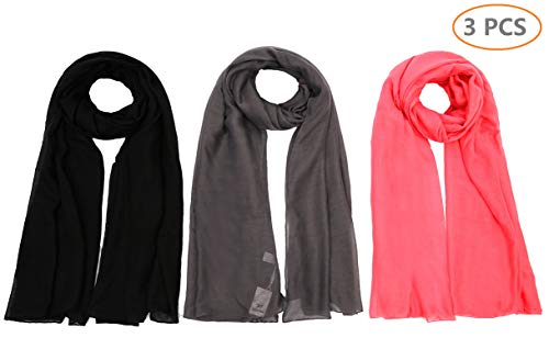 Light weight Plain Solid Rectangular Scarf For Women Oblong 72x39.5 Inches 3PCS for Set Black Grey Pink