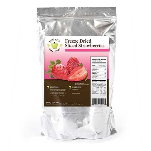 Legacy Essentials Freeze Dried Strawberries - 15 Year Shelf Life for Emergency Survival Food Storage Supply - Great Fruit Snack (Quantity 1)
